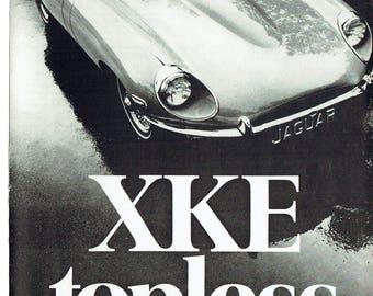 1969 Advertisement Jaguar XKE Convertible Roadster Jag Sportscar 60s 69 Topless Garage Driver Collector Dealership Wall