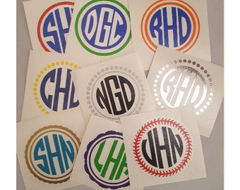 Monogram Decal | Vinyl Monogram Decal | Custom Vinyl Monograms | Custom Vinyl Circle Monograms | Round Monograms | Round Vinyl Monograms