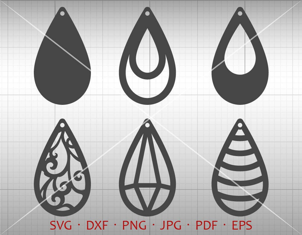 Tear Drop SVG Pendant SVG Vector DXF Leather Earring