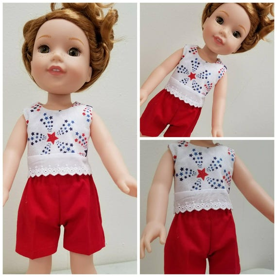 Red, White and Blue Shorts and Top for Wellie Wisher Doll