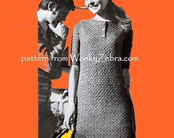 Vintage Crochet Pattern 163 PDF Ginger Polo Dress from WonkyZebra