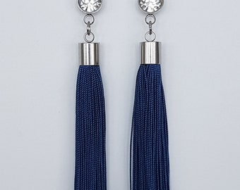 Blue Silk Tassel Earrings/ Tassel Earrings/ Blue Earrings/ Boho Earrings/ Statement Earrings/