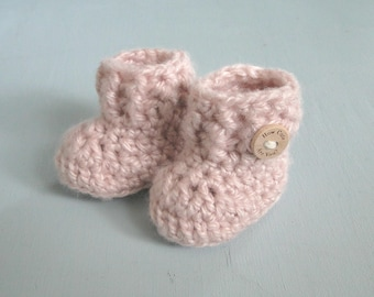Grandparent Pregnancy Announcement, Baby Girl Reveal, Booties, 0-3 Months, Booties in a Bag, Baby Shower, Baby Gift, Comes in Cotton Bag
