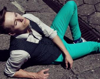 Men's slim vest waistcoat in green wool blend