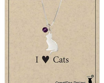 Sterling Silver Cat Pendant Necklace with Amethyst Bead | Cat Person Gift, Cat Lover, Cat Mom, Cat Silhouette Charm, Cat Jewelry Present