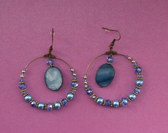 Blue beaded hoop earrings, blue crystal hoops, pale blue hooped earrings, light blue earrings, sky blue earrings, blue shell earrings, pearl