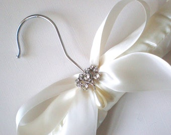 Padded Ivory Satin Bridal Hanger. Rhinestone Button & Pearl Drop. Shower GIFT Chic Grande Bows. Rhinestone Dress Guards. Bride Maids