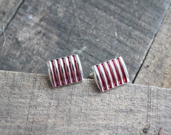 cufflinks silver color with red stripe