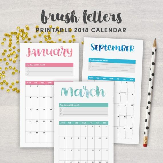 Printable  Personal Calendar  Calendar Insert For