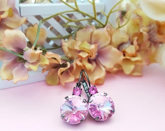 Pink Crystal Earrings - Pink Black Earrings - Pink Rose Earrings - Pink Rhinestone Jewelry - Pastel Pink Earring - Matte Black Earring E3941
