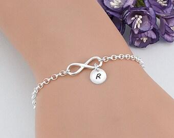 Sterling Silver Infinity Initial Bracelet Personalised, Friendship Bracelet, Personalized Bridesmaid Bracelet, Initial Bracelet