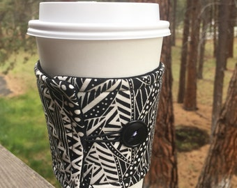 Reusable Coffee Sleeve - Black & White Leaves