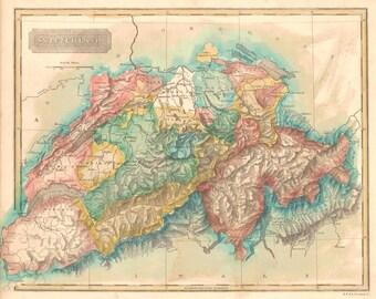 Antique map of Switzerland at 1822, 18th century old map,art deco,vintage decor, fine art print