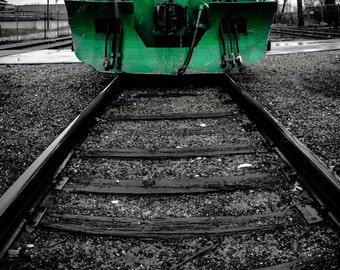 Train Photograph, Boys Room Decor, Nursery, Green, Black and White, Locomotive Photo, Traverse City, Michigan, Childrens Art