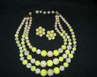 Lucite Necklace and Clip On Earring Set