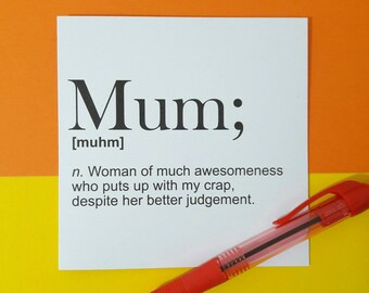 Mother's day card | Mum definition | Meaning of mum | Noun | Awesome Mum | Fun card | Thank you card