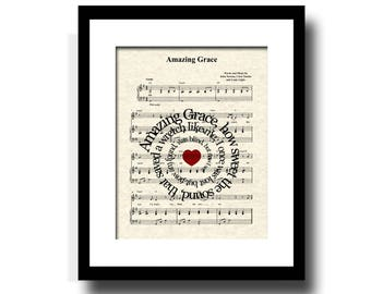 Amazing Grace Song Lyric Sheet Music Art Print, Inspirational Art, Hymn Art Print, Traditional Church Hymn, Spiritual Art, Christian Art