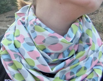 Infinity Scarf - Loop Scarf - Circle Scarf -  pastel raindrop print- Cotton - Reduced price