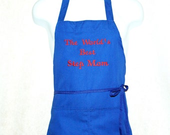Step Mom Apron, Grandma, Grammy, Nana, Papa, Dad, World's Best, Custom Personalize With Name, No Shipping Fee, Ready To Ship TODAY, AGFT 797
