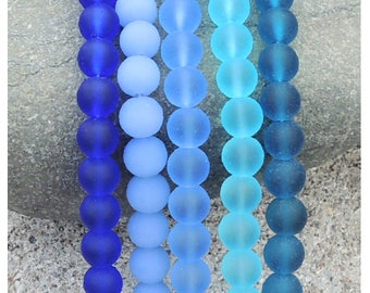 Cultured sea glass  beads  8 mm, 26 pcs