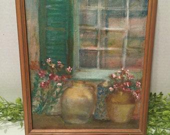 Vintage Oil Painting Window Jugs and Flowers