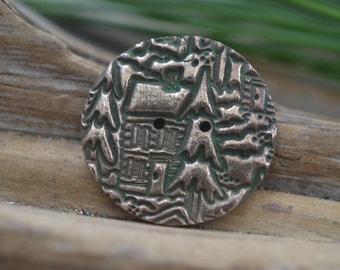 Mountain Cabin - Handmade Bronze Focal Button
