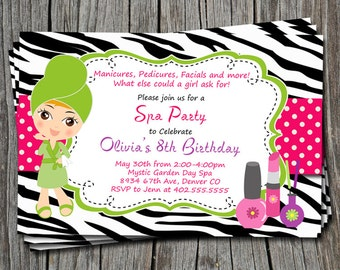 Custom Spa Party Pink and Black Zebra Print Birthday Party Invitation Card  - Any Color