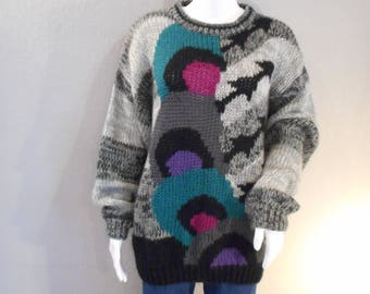 90s Oversized Sweater Size Small Teal, Pink, Purple, Gray, Black