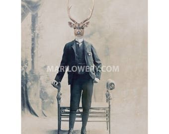 Stag Art, 8 x 10 Inch Print, Deer in Suit Victorian Animal in Clothes Masculine Wall Art, Gift for Men, Deer with Antlers Art, frighten