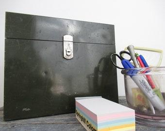Green Metal File Box, Vintage File Box, Metal Storage Box, ASCO File Box, Vintage Office
