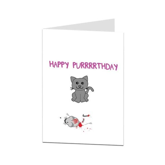 Funny Birthday Card Cat Card Birthday Card From Cat Card