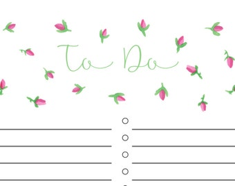 Pink Rosebud To Do List Printable