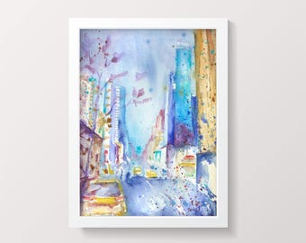 New York Manhattan Original Watercolor Painting Watercolour Manhattan Watercolor Colorful Modern Gift idea Impressionist Valentines Day sale