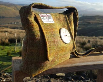 Harris Tweed Handbag with handmade ceramic button. Handmade on the beautiful Isle of Skye