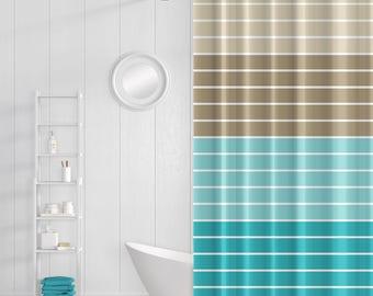 Shower Curtain, Striped Bath Curtain, Teal Aqua Taupe Brown Beige