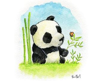 Little Panda Bear Watercolor Print