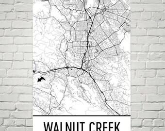 Walnut Creek CA Map, Walnut Creek Art, Walnut Creek Print, Walnut Creek California Poster, Wall Art, Gift, Map of California, California Art