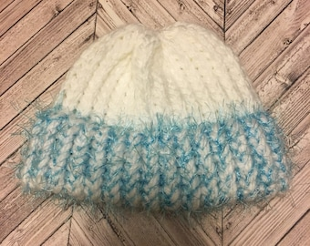 Knitted Fuzzy Newborn Baby Hat