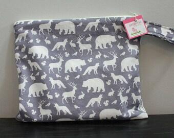 Wet Bag wetbag Diaper Bag ICKY Bag wet proof grey animals gym bag swim cloth diaper zipper gift newborn baby child kids summer beach