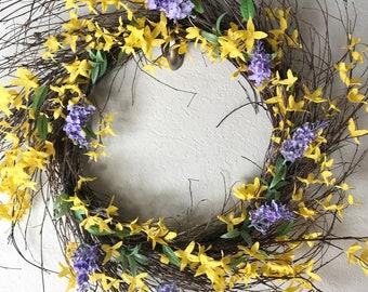 Farmhouse yellow eucalyptus and purple lavender wreath