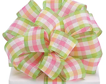 """Pastel Plaid Wired Ribbon, by the yard 1.5"""" Spring Summer Ribbon, Easter, Use for Wreath~Wedding~Arrangement-Scrap-booking~Burton and Burton"""