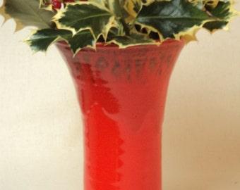 Tall Flared Vase in Red Mottle Glaze
