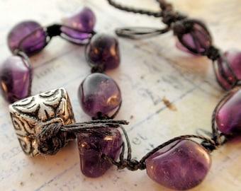 Amethyst Bead Macrame Bracelet