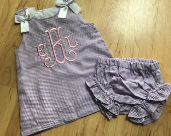 Girl's Monogram Dress and ruffle bloomer Outfit - Custom Sundress and bloomers set - Spring, Summer outfit - for baby, toddler, girls