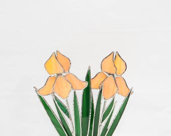 """Iris, Peachy Stained Glass Double Iris, Made in USA,  Iris Glass Flower, Stained Glass Garden Decor, Suncatcher, 9 3/4 """" x 5 1/4""""."""