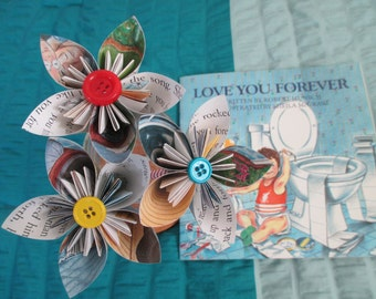 Chilren's book origami flowers--new parent--theme...gift--baby shower--birthday--teacher..nursery--love you--parents--centerpiece-decoration
