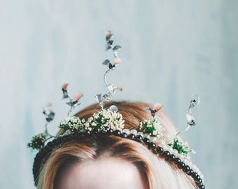 The Silver Forest Crown - Handmade Headpiece