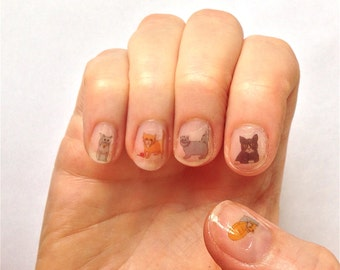 Cats nail stickers / handmade illustrated / transfers / decals with unique artwork