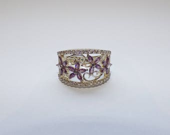 Silver ring barrel flowers and purple Rhinestones, Bohemian spirit