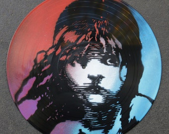 Artistic version of Les Miserables, vinyl record spray paint handmade decoration musical clock stencil